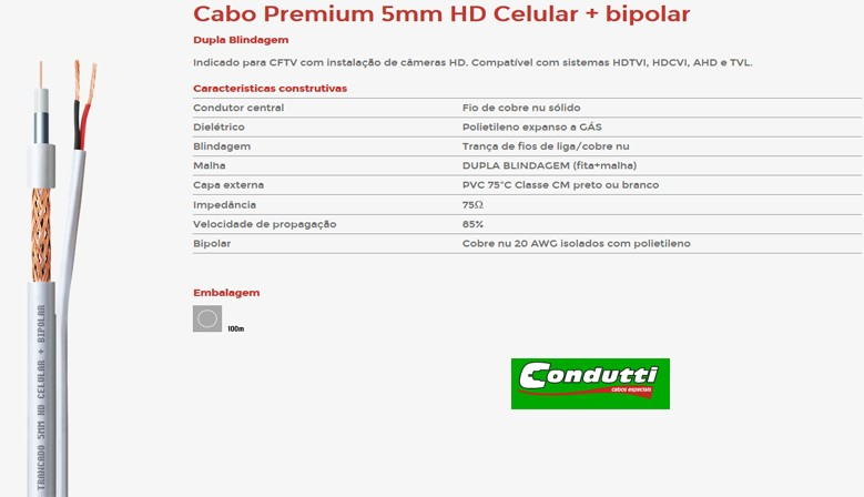 Cabo Condutti HD 5mm